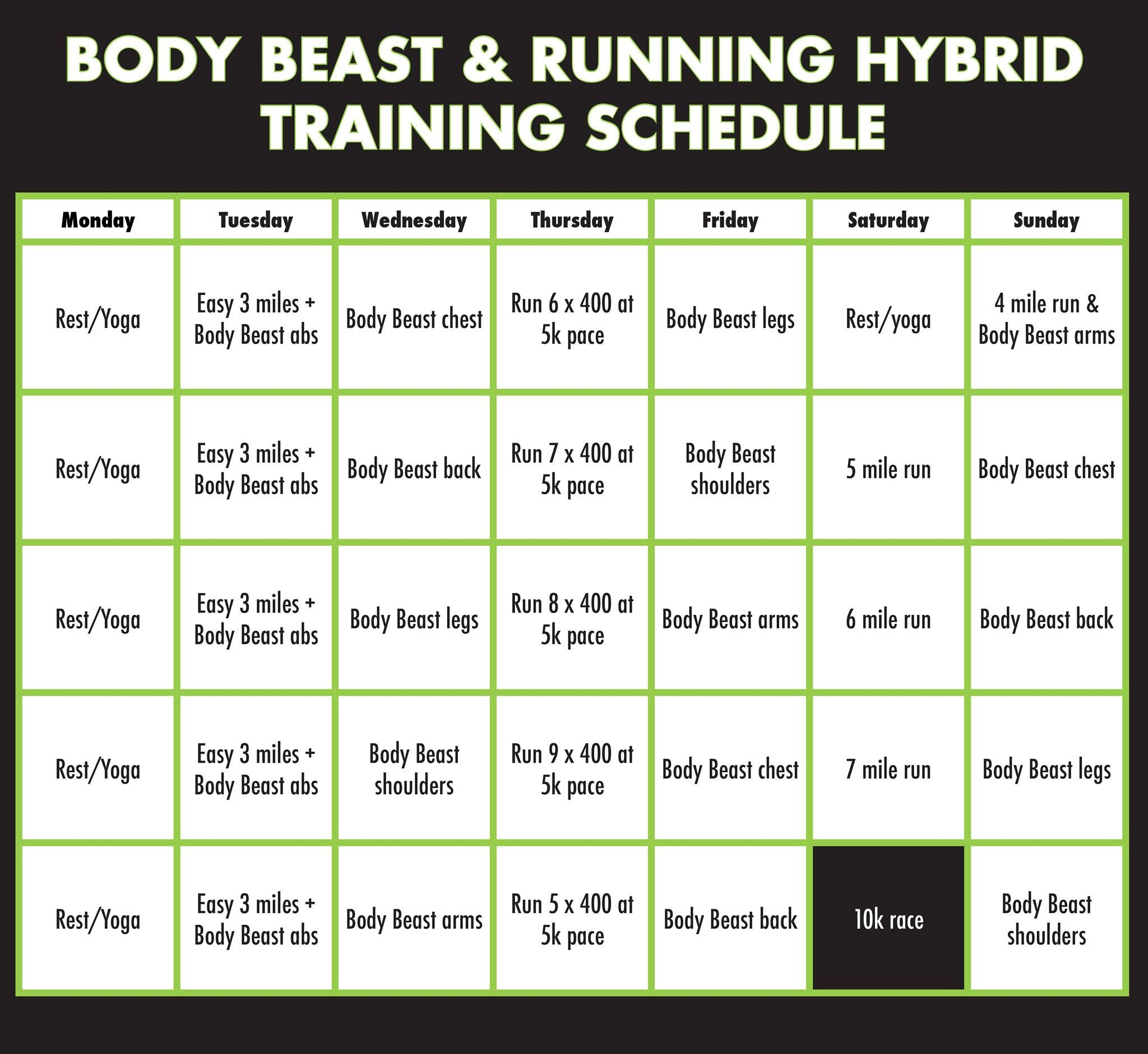 Body Beast  Running Hybrid Training Schedule  Health  Fitness