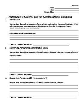 Essay Outline Comparing Hammurabi\'s Code to the Ten Commandments ...