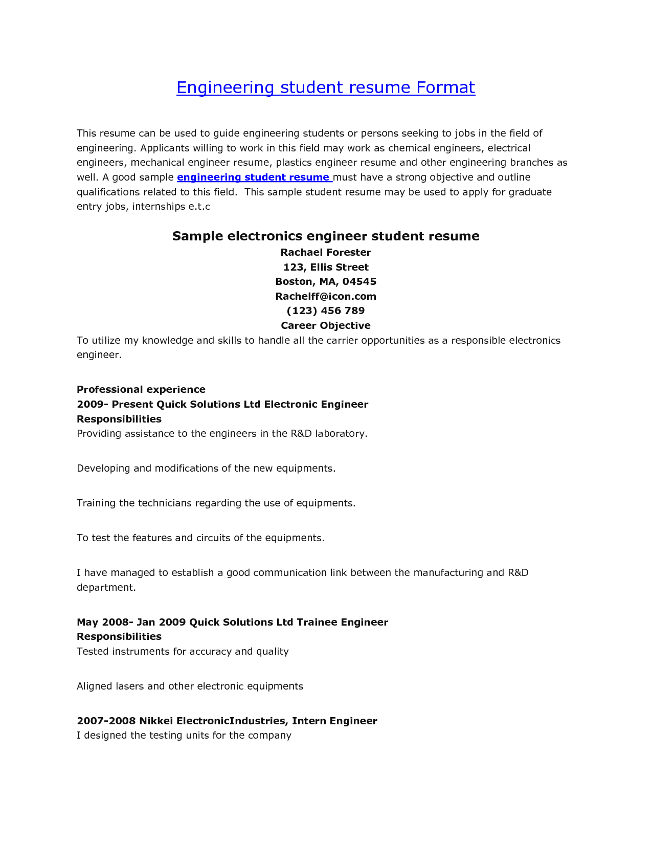 Internship Resume Template Microsoft Word Resume Format For Engineering Students  Httpwwwjobresume