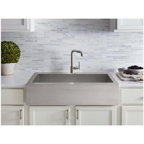 Kohler Vault K 3942 1 Na 36 Stainless Farmhouse Sink Single Bowl Top Mount With Tall Apron Stainless Steel Farmhouse Sink Stainless Steel Farm Sink Farmhouse Sink Kitchen