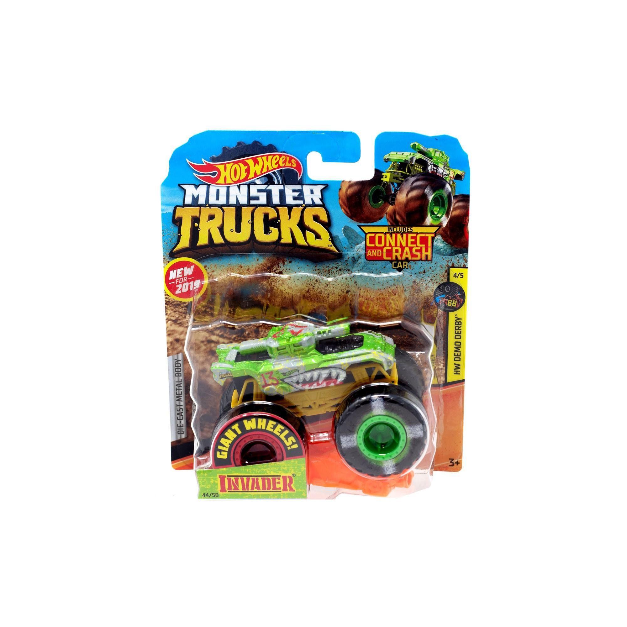 Hot wheels monster trucks hw demo derby invader diecast
