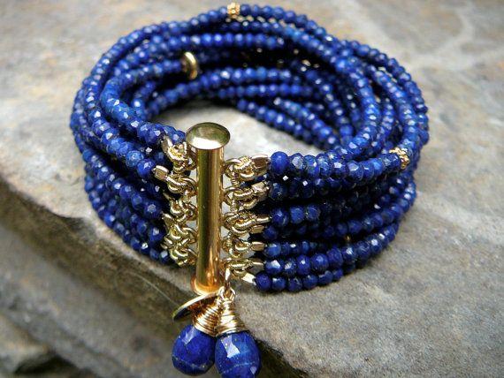Multi Strand Lapis Bracelet, Lapis Gemstone Jewelry, Lapis and Pearl Bracelet