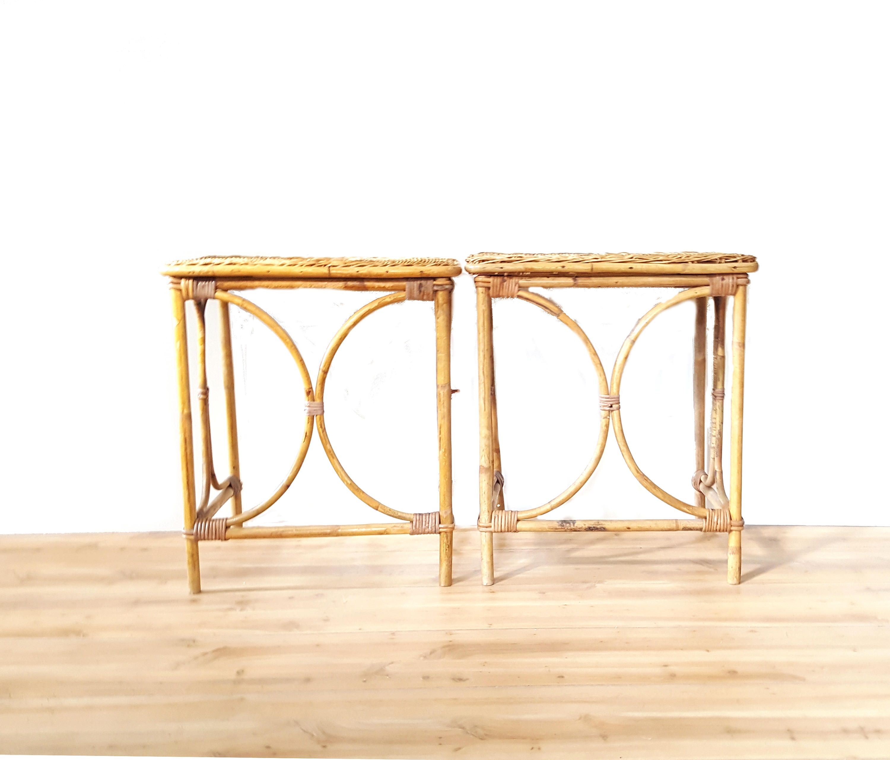 Bamboo Table With Design: Boho Bentwood Rattan Woven Side