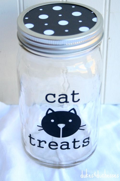 Decorated Mason Jar For Cat Treats Mason Jar Decorations Mason