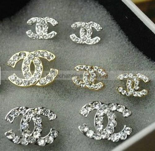 Fake 2017 Latest Chanel Double C Diamond Studs Earrings