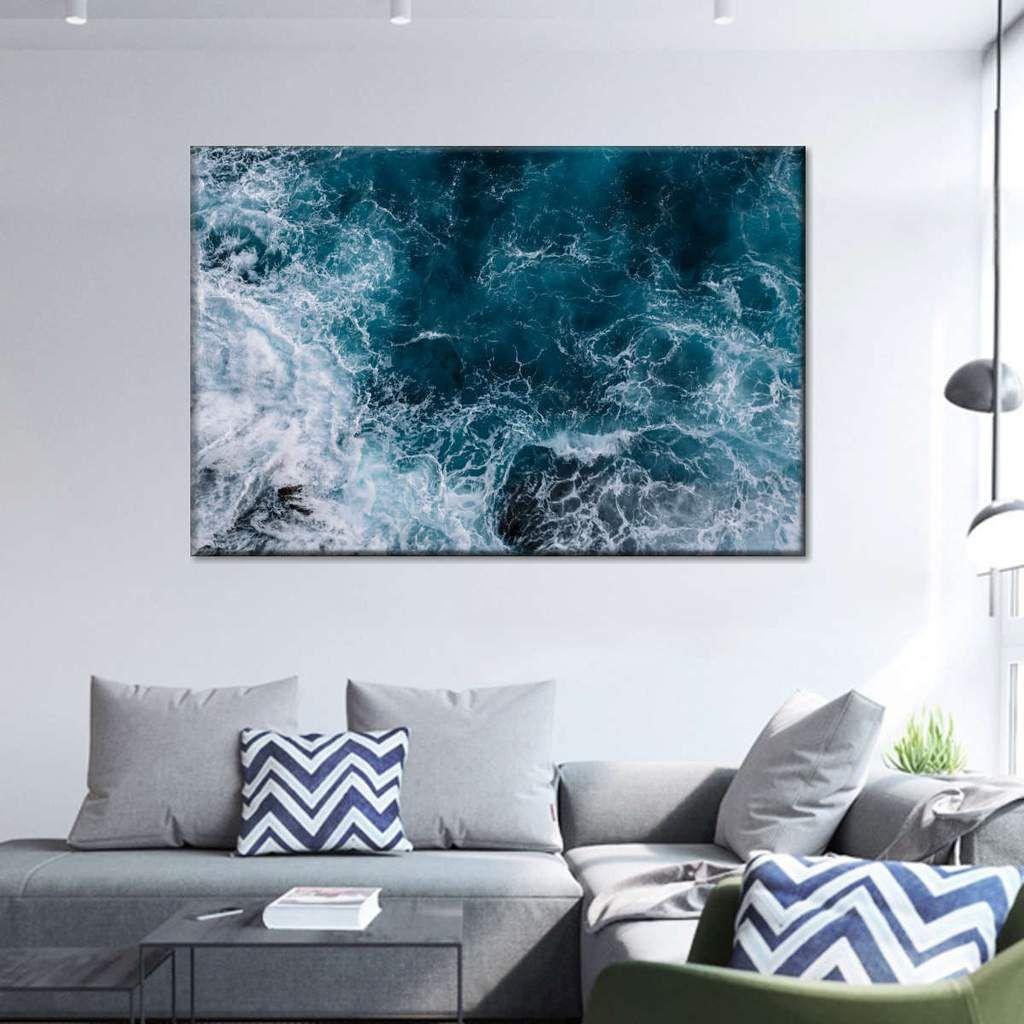 Blue Ocean Waves Multi Panel Canvas Wall Art In 2020 Ocean Wall Art Canvas Wall Art Blue Wall Art