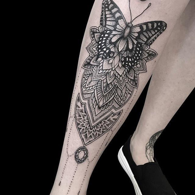 83aeb5f52 Butterfly shin piece done by Louise.... #tattoo #art #artist #tattooartist  #design #love #body #butterfly #mandala #tattoos #inspiration  #tattooinspiration ...