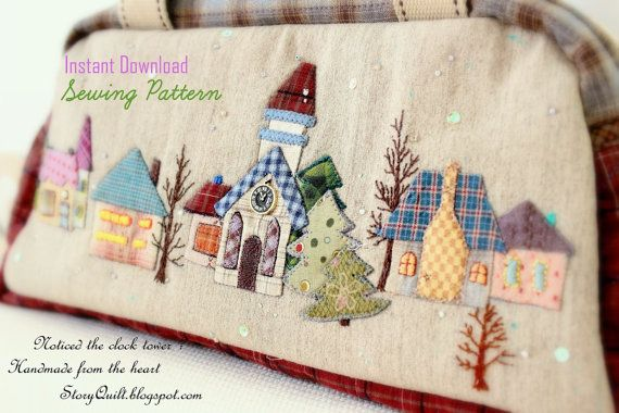 Diy pdf pattern tutorial japanese patchwork quilted house applique