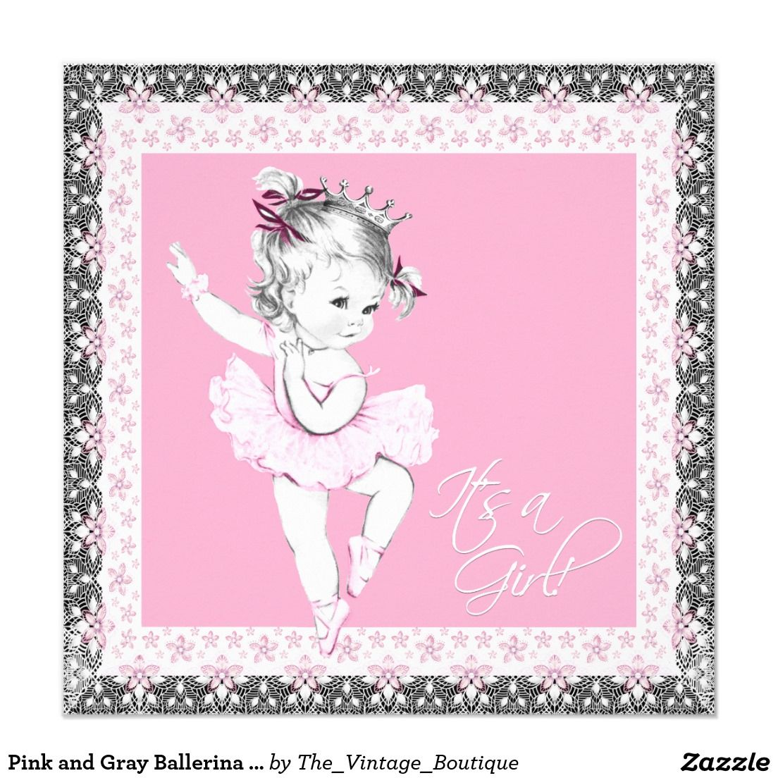 Pink and Gray Ballerina Baby Girl Shower | Babies | Pinterest ...