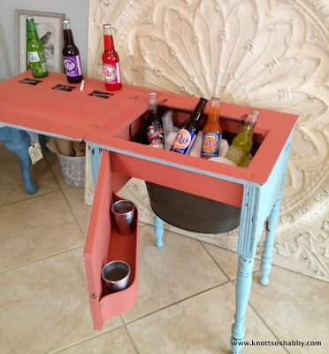 Re-purposed Sewing Machine Cabinet into a Cooler