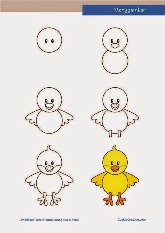 Kerajinan Anak Menggambar Anak Ayam Drawing Lessons Gambar Kartun Cara Melukis