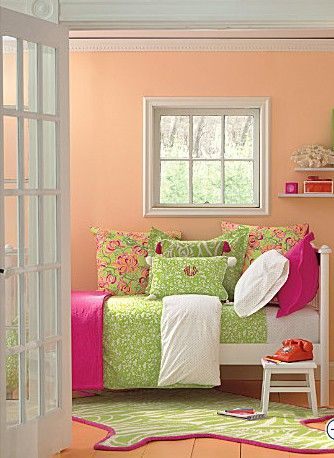 Pink Green Cute Making The Bed Look Like A Day Bed
