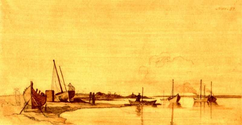 Taras Shevchenko. Schooners preparation. Stained paper, sepia (15,9 × 30,5 cm). [Raim]. [19.VI – 25.VII 1848]. Taras Shevchenko National…