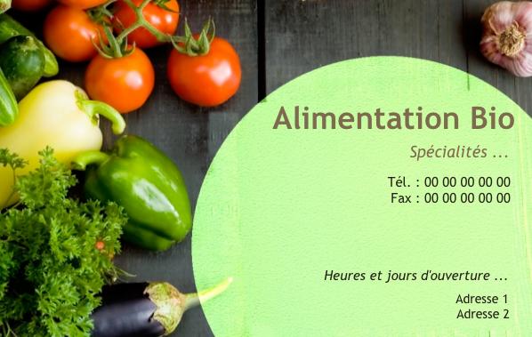 Carte De Visite Metier Fruits Et Legumes Alimentation Bio Modele Gratuit A Personnaliser En
