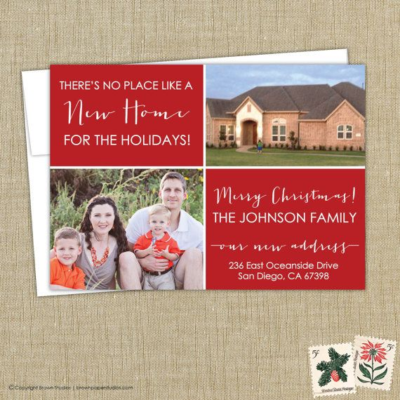 Christmas Card Moving Announcement We Ve Moved There S No Place Like Home In 2020 Creative Christmas Cards Creative Christmas Moving Cards