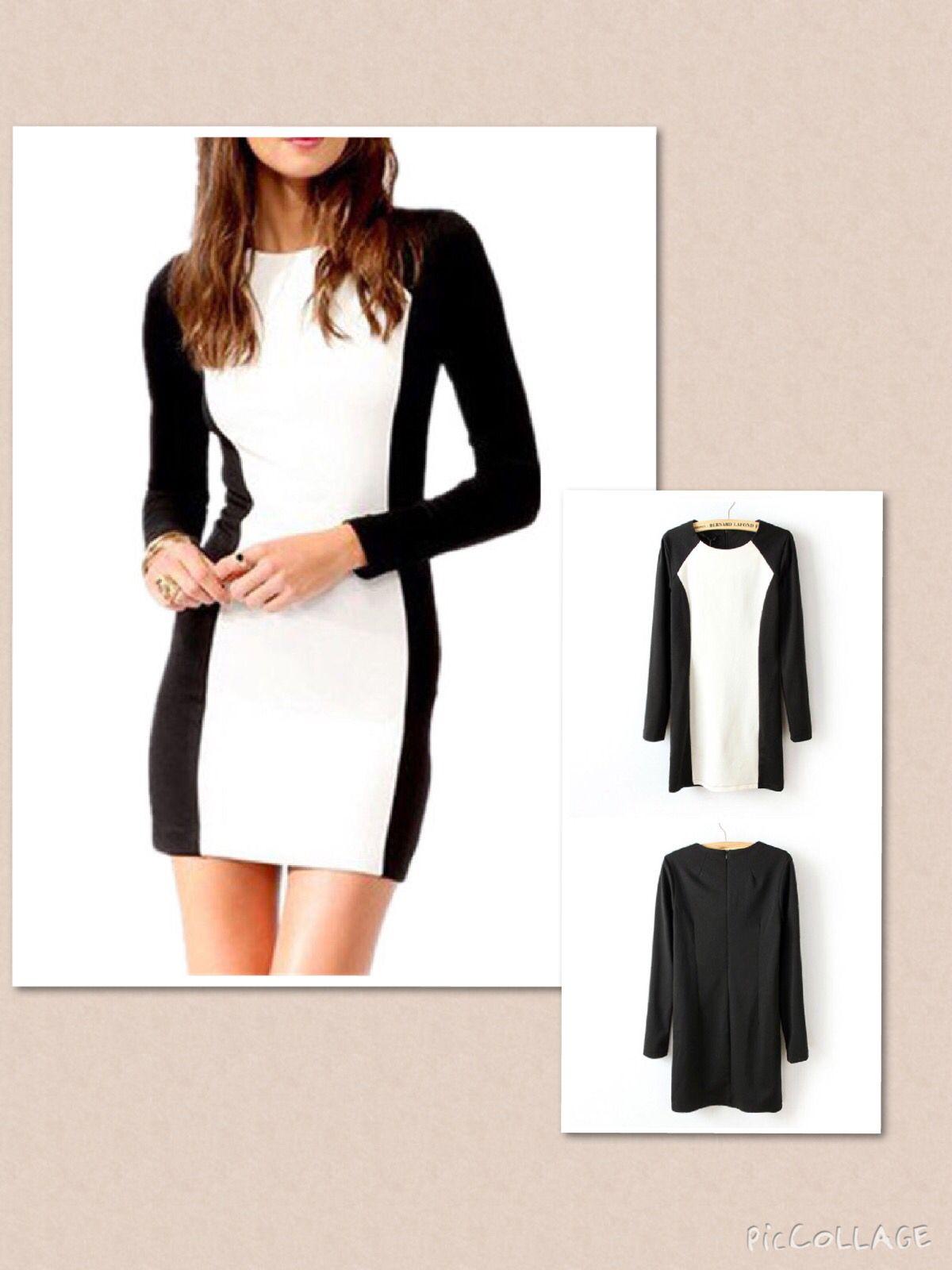 Womenus bodycon dress autumn fashion black and white patchwork color