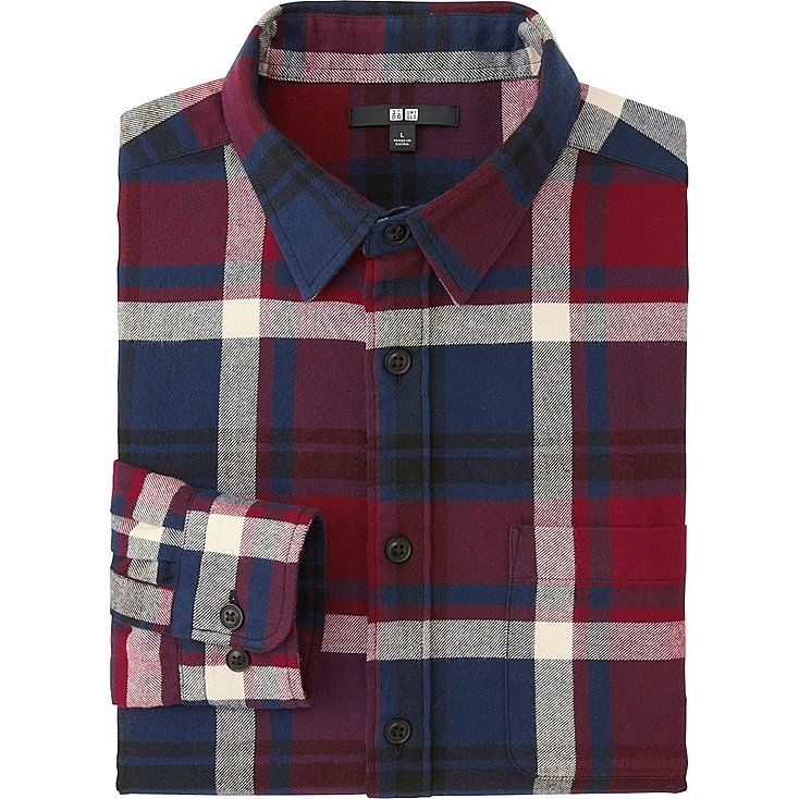 MEN FLANNEL CHECKED LONG SLEEVE SHIRT, RED