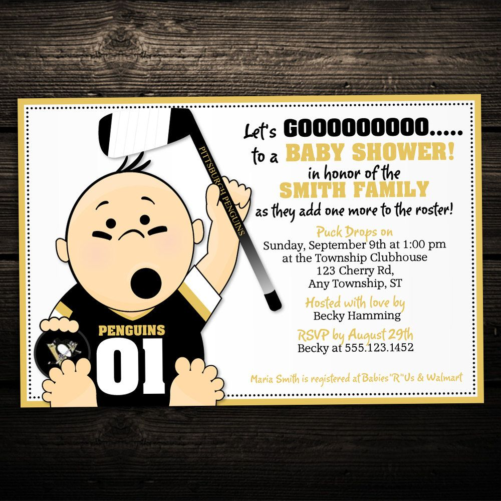 clever baby shower invitation wording%0A Sports Hockey Tailgate Printable Baby Shower or Birthday Invitation  ANY  TEAM  NHL