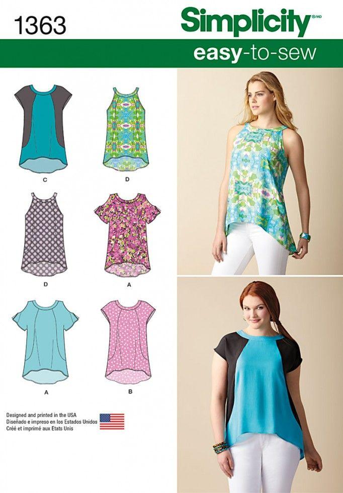 Simplicity Ladies Easy Sewing Pattern 1363 Summer Tops in 4 Styles ...