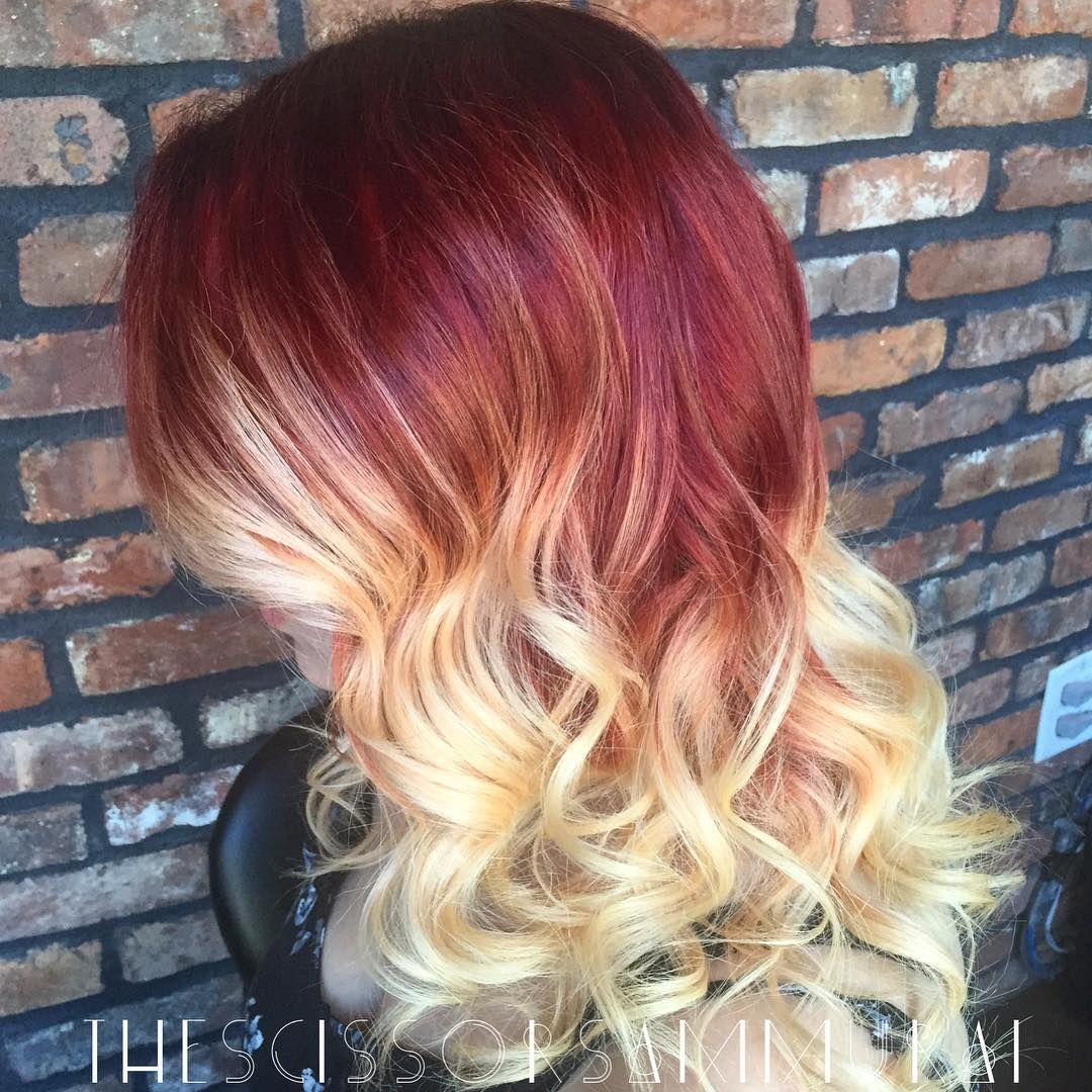 Red And Blonde Ombre Red Ombre Hair Ombre Hair Color Blonde Ombre