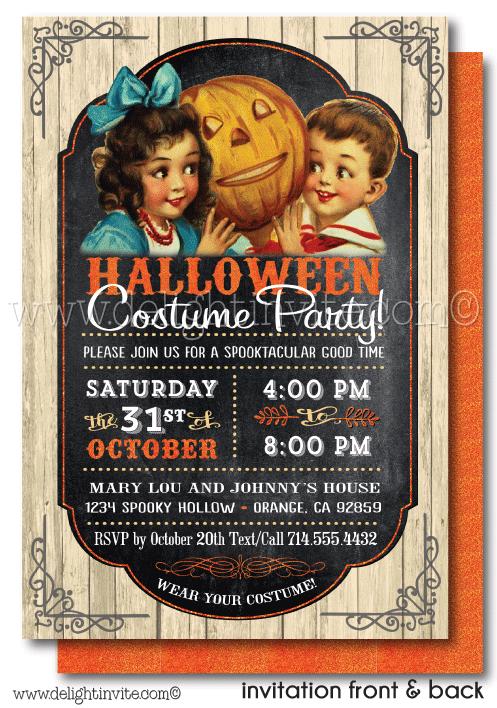 kid friendly vintage halloween party invitations printed halloween