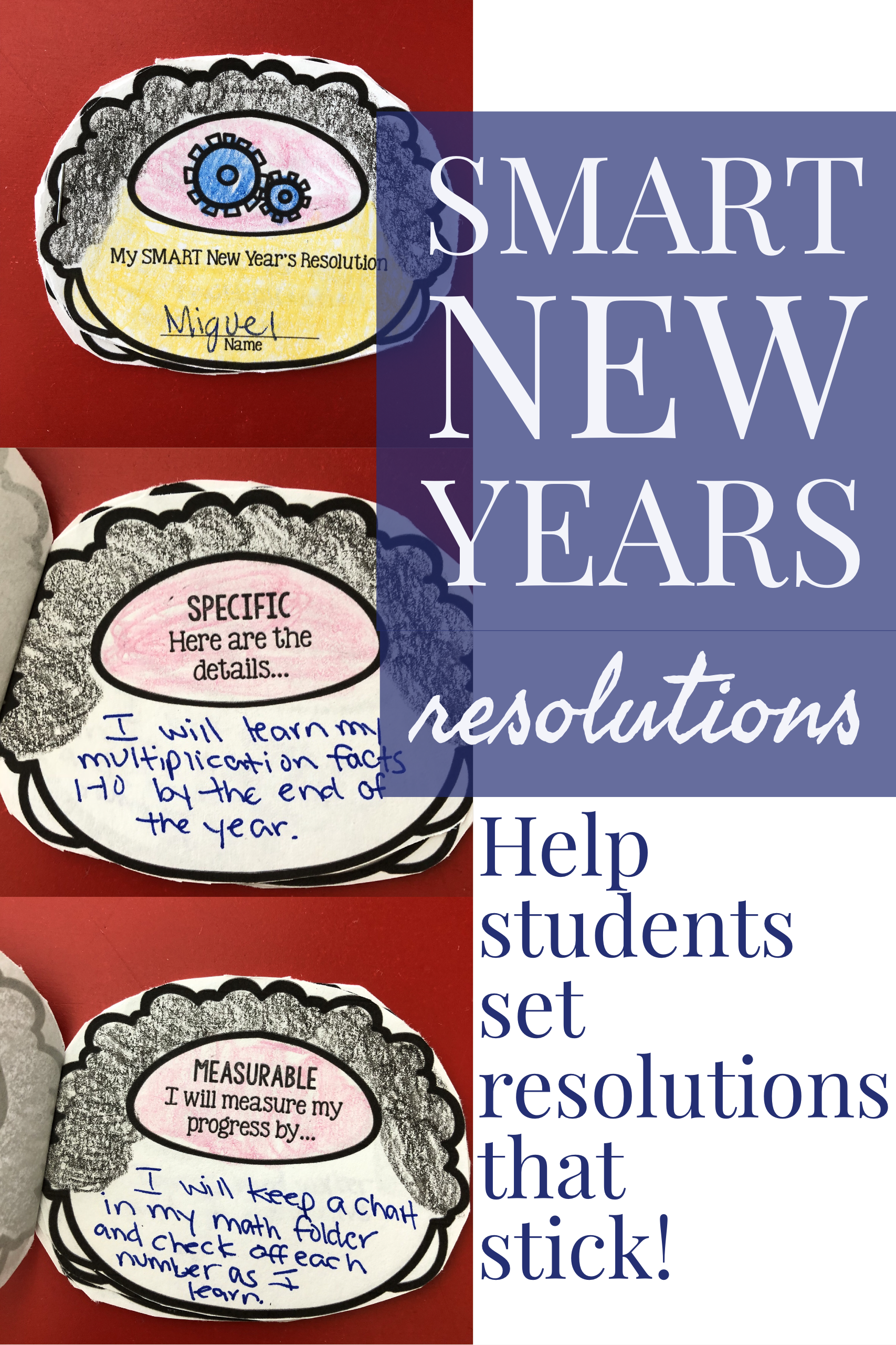 New Year's Resolution Craft for SMART Goals in Elementary