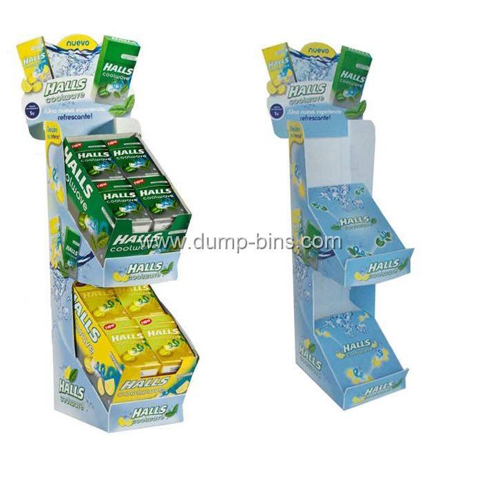 C048 Carton Retail 2 Tier Floor Stand Display for Chocalate_Dump Bins
