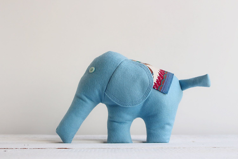 Light Blue Stuffed Elephant Soft Plush Toy Baby Nursery Decor Handmade Waldorf Toy Fleece Animal Shower Gift Baby Nursery Decor Soft Plush Waldorf Toys