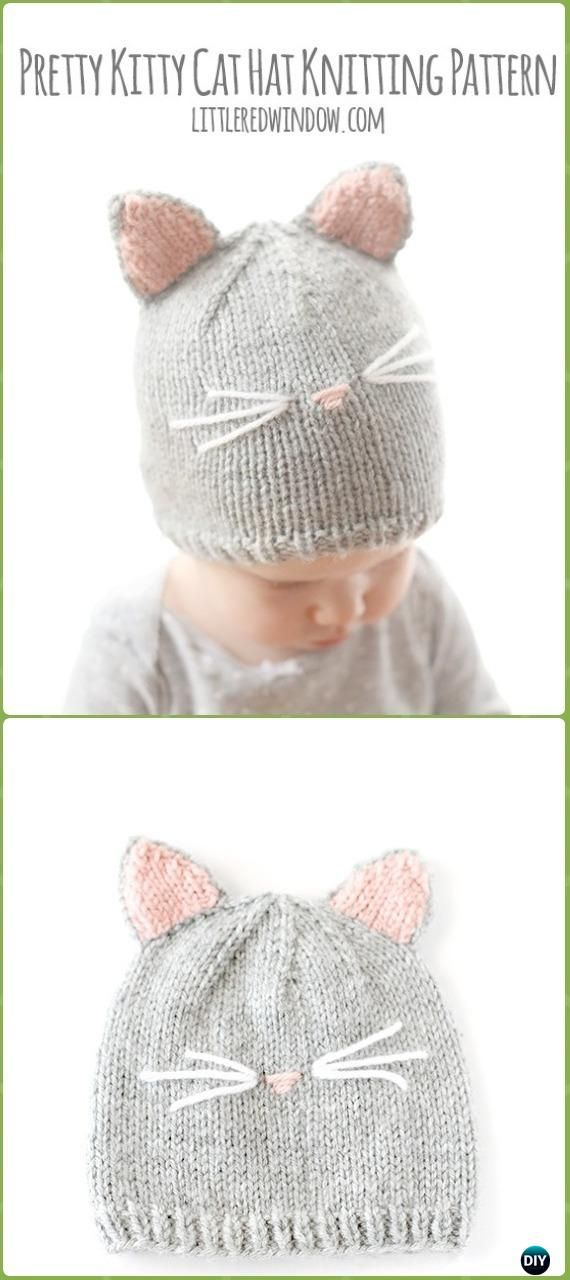 Fun Kitty Cat Hat Knitting Patterns Free and Paid | Gorros, Tejido y ...