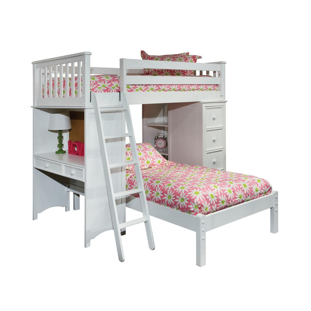 Low loft bed with desk and storage  Bolton Furniture Mission White Twin SSS Loft Bed with Lower Platform