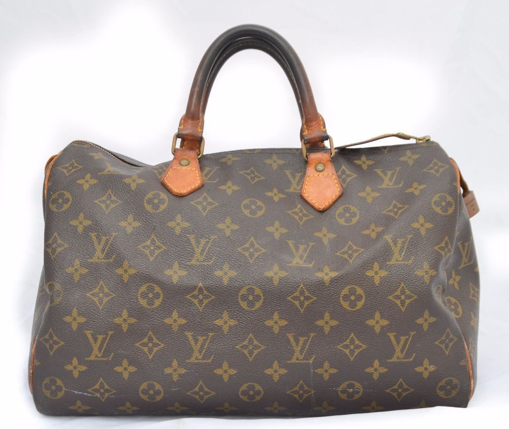 ad6e39455fc4 Authentic Vintage Louis Vuitton Brown Monogram Speedy 35 Top Handle Bag  3