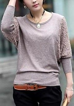 Round Lace Pacthwork Batwing Knitwear Sweater