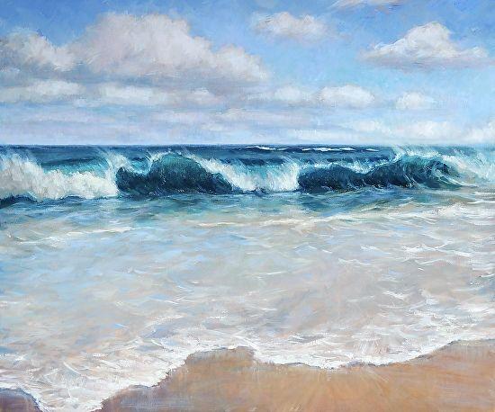 Hawaii Oil Painting Lumahai Surf By Jenifer Prince Beach Scene Painting Ocean Waves Painting Surf Painting