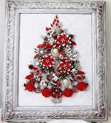 KEEPSAKE-VTG-FRAMED-RHINESTONE-JEWELRY-CHRISTMAS-TREE-RED-POINSETTIA