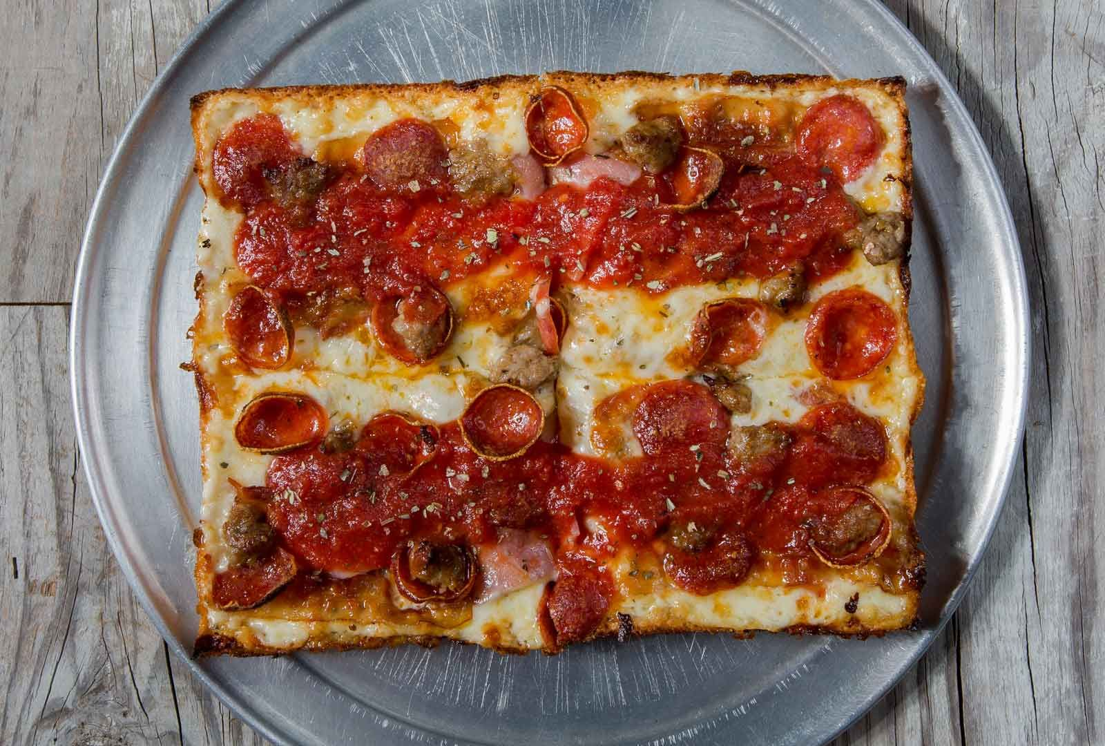 We proudly serve Austin genuine Detroit Style Pizza out of