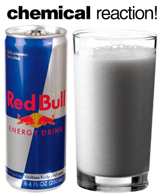"Pinner said: ""Fun Science Experiment: Pour whole milk and add red bull - let sit 5 minutes and the acid in the red bull will cause the protein in the milk to separate - liquid changing to solid! New Science Experiment to try!"" I wanna try!"