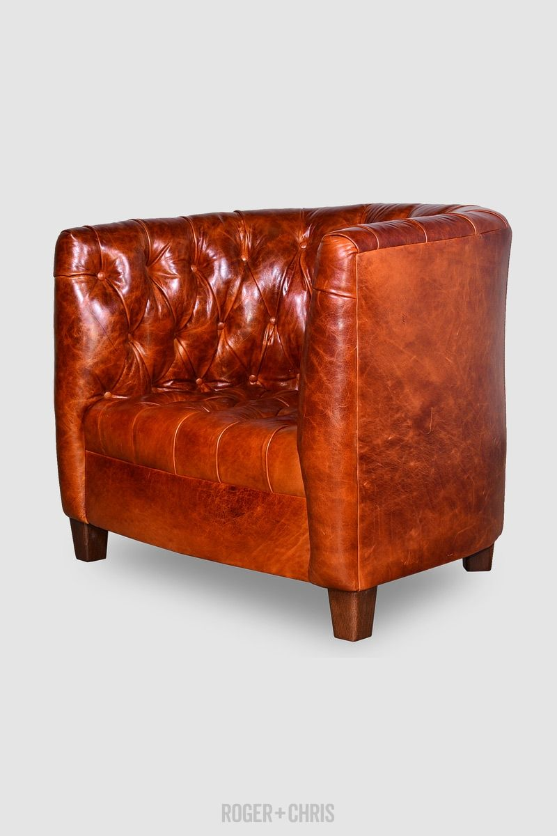 Oliver Tufted Barrel Chair In Echo Cognac Leather Roger Chris Barrel Chair Tufted Leather Chair Chair