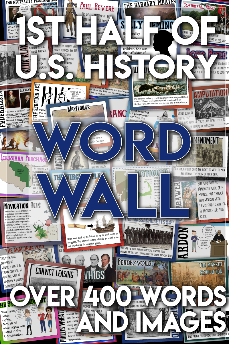 Photo of Word Wall the First Half of U.S. History Exploration through Reconstruction