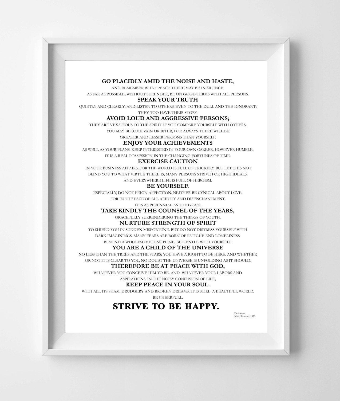 Desiderata A4 Printable Print Dowloadable Literary Quote Wall Art Wall Art A4 Instant Download Printable Desiderata Motivational Prints Printable Print