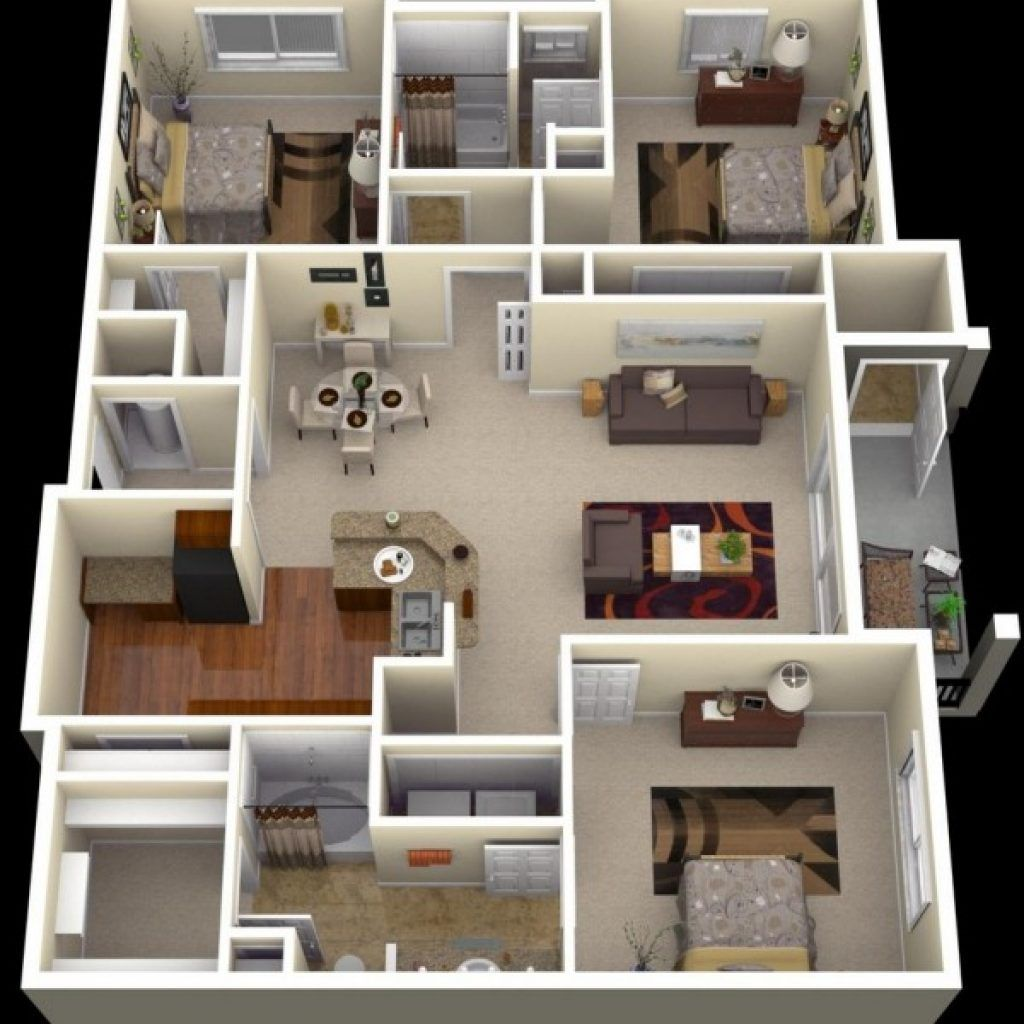 Three Bedroom Apartments Designs For Your Perfect Living 3 Bedroom Apartment Design India 3 House Layout Plans Three Bedroom House Plan Bedroom House Plans