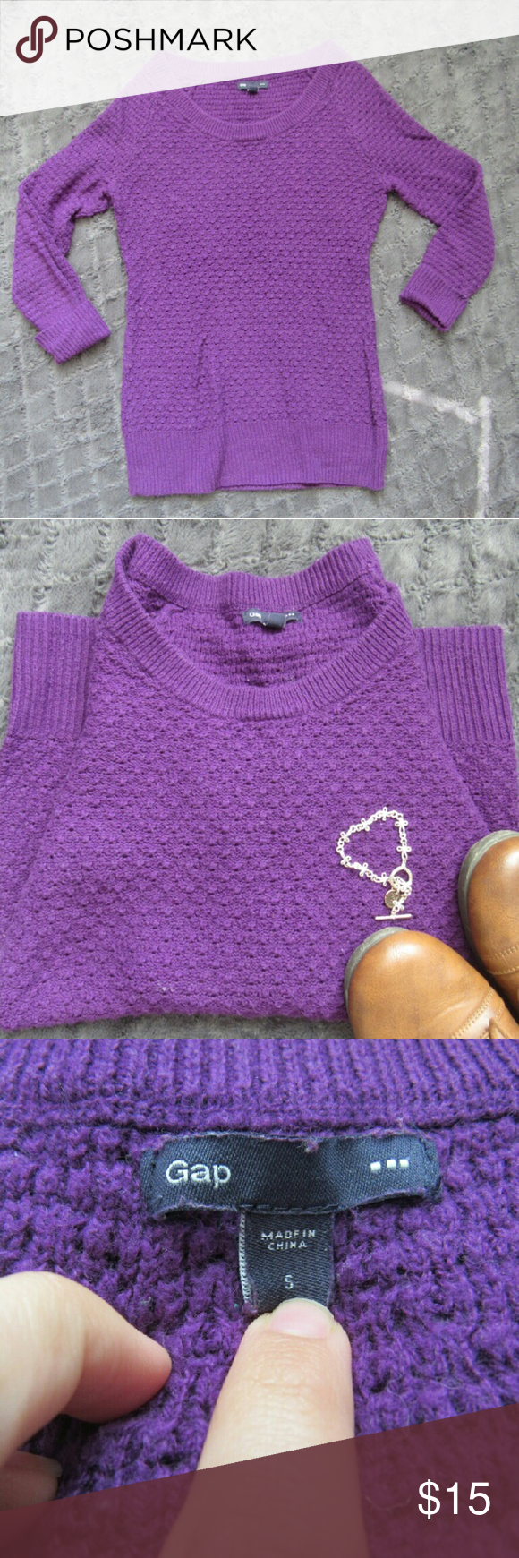 Gap Brand Purple Sweater with Cuffed Arms Beautiful purple sweater. It is more of a dark reddish purple in person. The lighting really brought out a blue tinit. 3/4 length cuffed sleeves 60% cotton 40% acrylic. Great condition. Perfect for the upcoming seasons! GAP Sweaters Crew & Scoop Necks