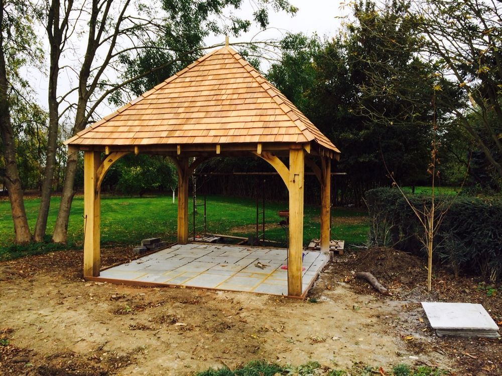 Green oak framed wooden gazebo garden building pergola for Garden design kits