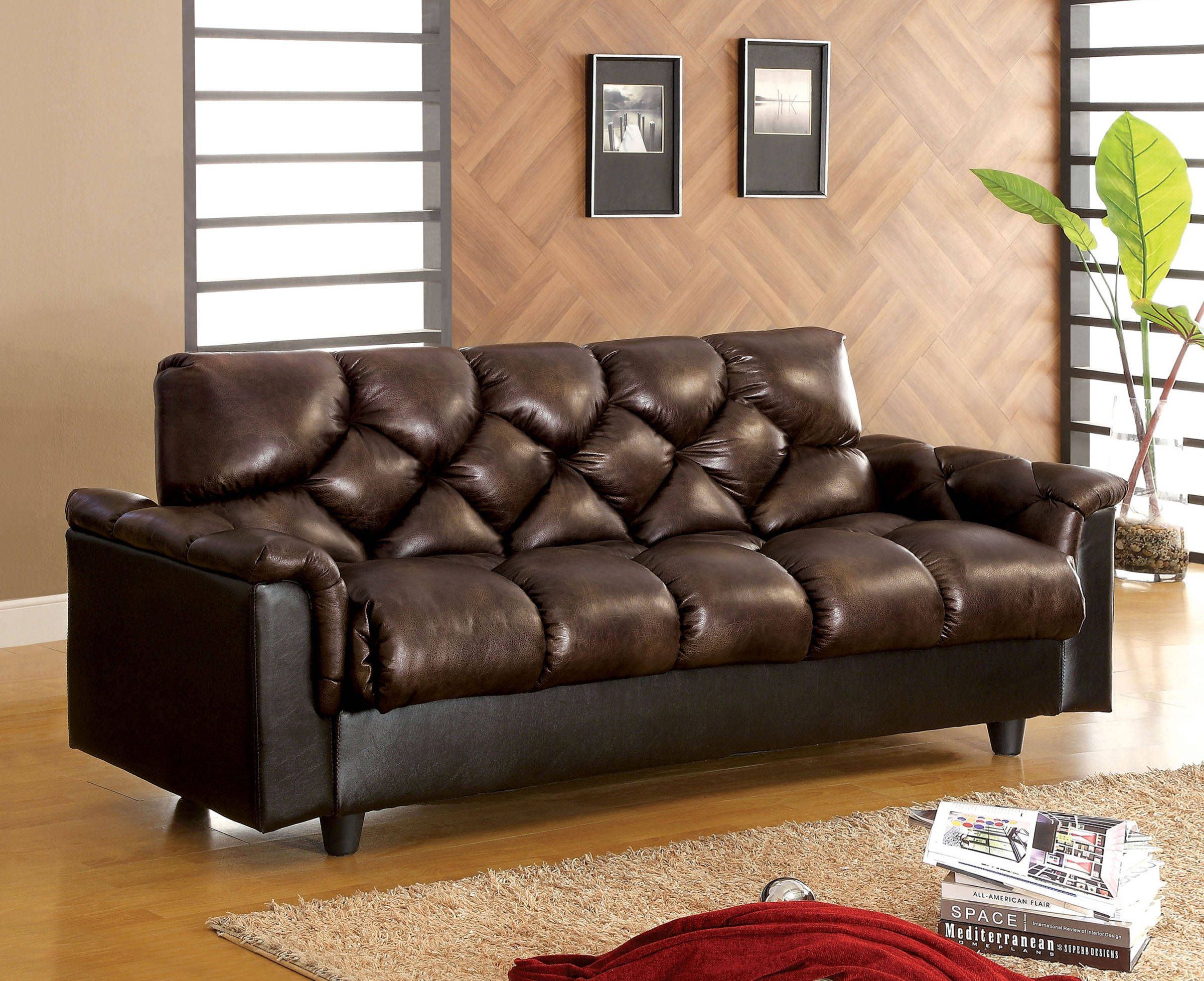 Bowie Contemporary Brown Fabric Leather Like Storage Futon Sofa