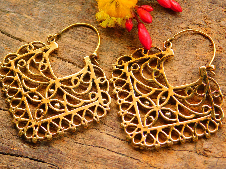 Earrings Brass Earrings Tribal Earrings Brass Tribal Earrings belly dance