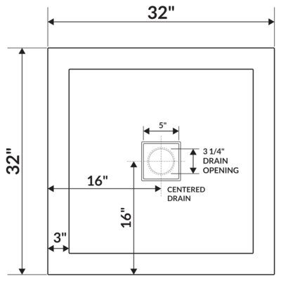 Lesscare 32 X 32 Shower Base Drain Location Center Number Of