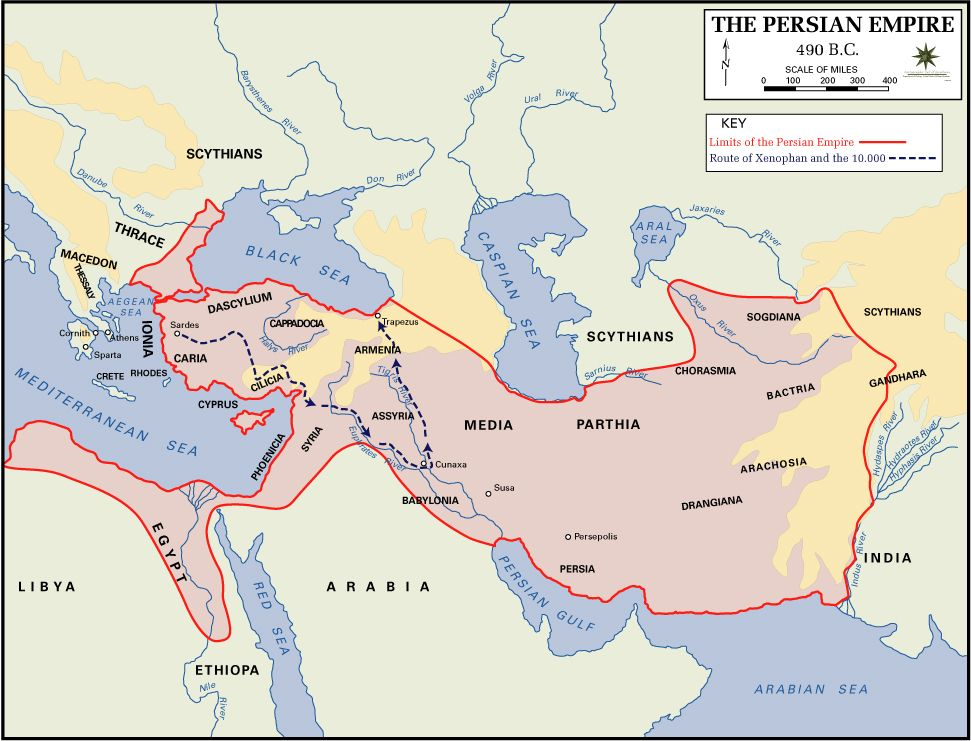 Map Of The Persian Empire 490 Bc Maps Of The Ancient World