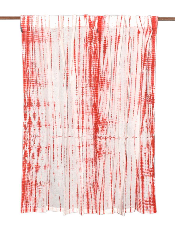 Handmade Bohemian Cotton Curtains, Boho Decor, Beach Curtains, Orange And White  Curtains,