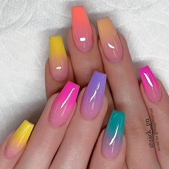 Prepare 30 Bright Acrylic Coffin Nails For You In Summer Ombre Nail Designs Best Acrylic Nails Summer Acrylic Nails