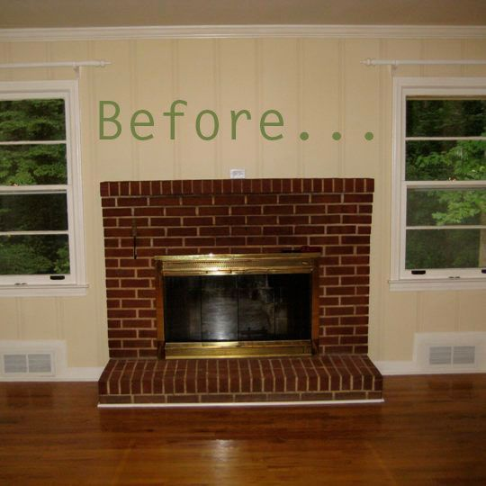 before after molly 39 s family room fireplace makeover family room fireplace painting brick. Black Bedroom Furniture Sets. Home Design Ideas