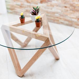 Table Basse Bois Brut Massif Et Plateau En Verre Ronde Etsy In 2020 Table Coffee Table Home Decor